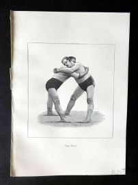Badminton Library 1889 Wrestling Print. The Hold